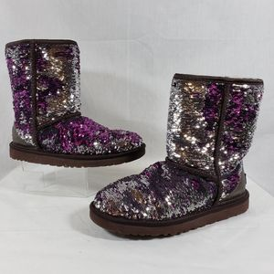 UGG classic boot purple silver sequin sherpa sz 7